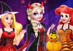 Elsa, Rapunzel e Ariel no Dia das Bruxas