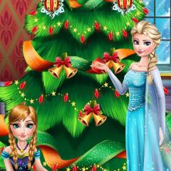 Jogo Irmãs de Frozen Decoram Árvore