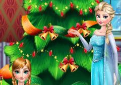 Irmãs de Frozen Decoram Árvore